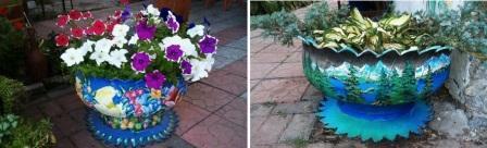 Вазоны из шин для сада и огорода картинки