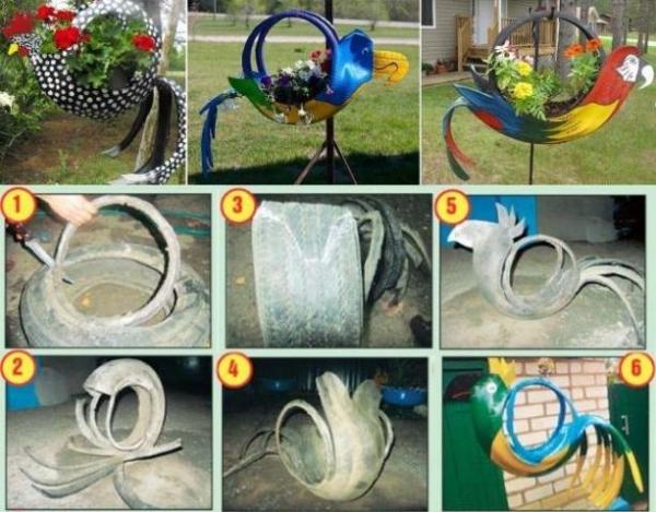 Как сделать лебедя из шины пошаговая инструкция